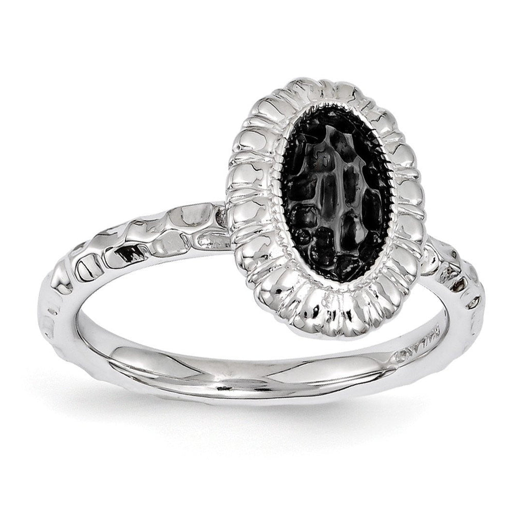 Sterling Silver Stackable Expressions Ruthenium-plated Oval Ring - shirin-diamonds