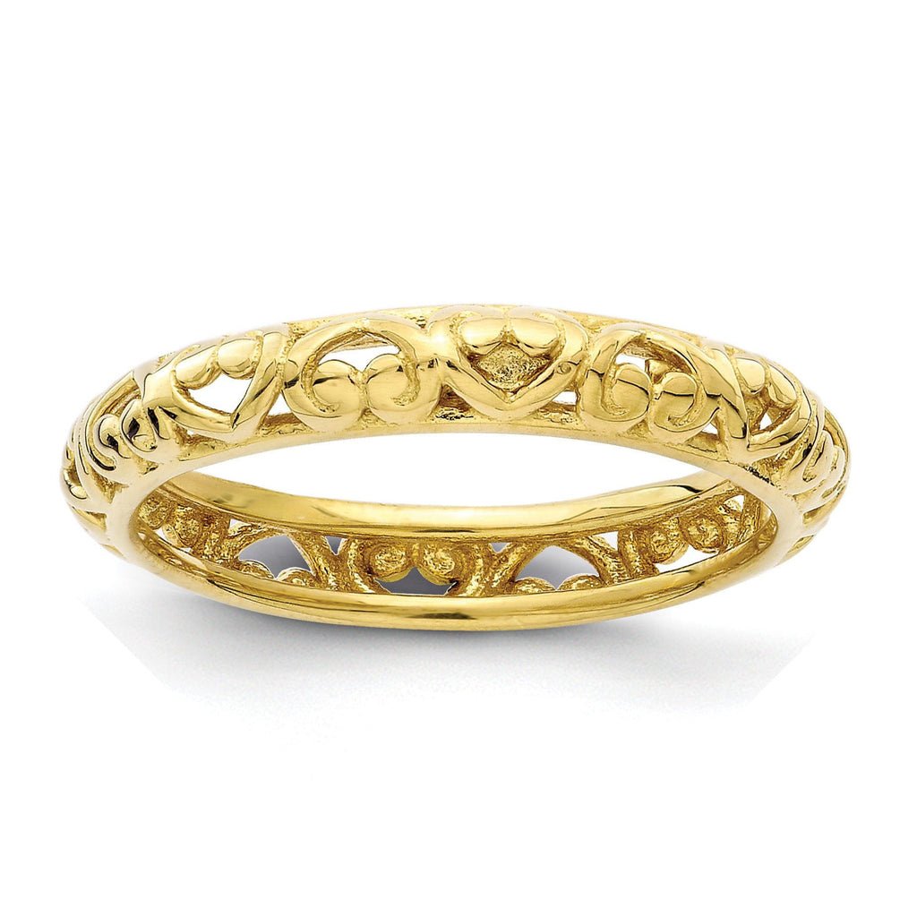 Sterling Silver Stackable Expressions Gold-plated Carved Ring