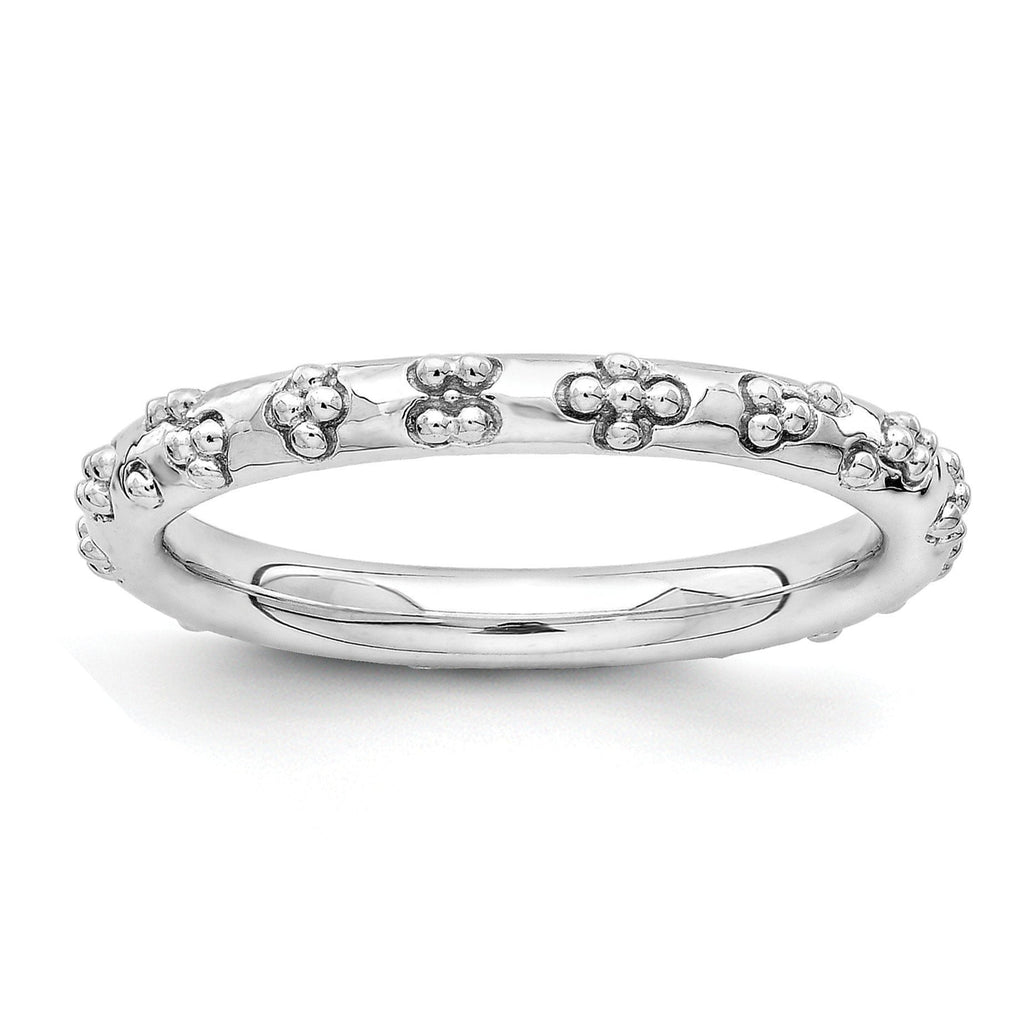 Sterling Silver Stackable Expressions Rhodium Textured Ring - shirin-diamonds