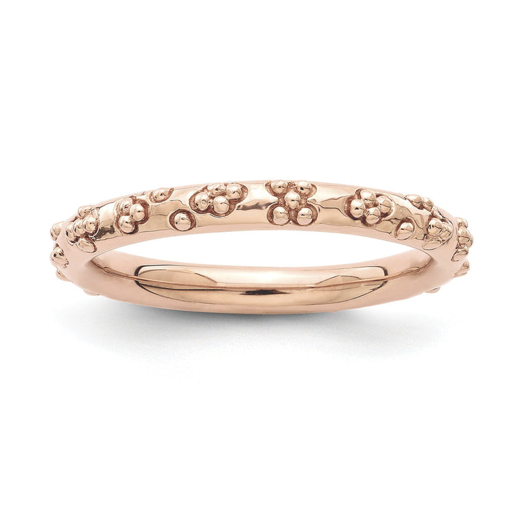 Sterling Silver Stackable Expressions Pink-plated Textured Ring - shirin-diamonds