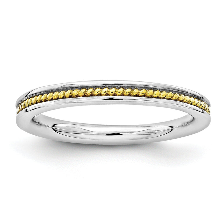 Sterling Silver Stackable Expressions Gold-plated Channeled Ring - shirin-diamonds