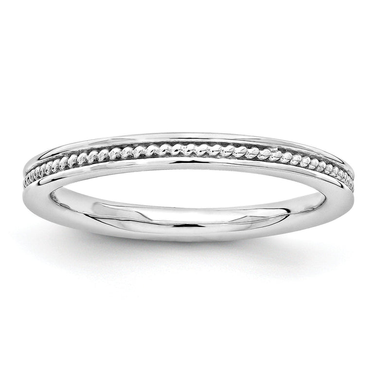 Sterling Silver Stackable Expressions Rhodium Channeled Ring - shirin-diamonds