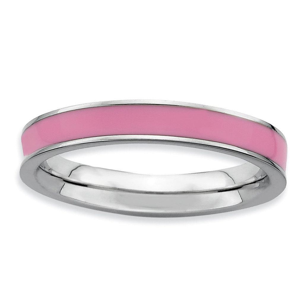Sterling Silver Stackable Expressions Pink Enameled 3.25mm Ring