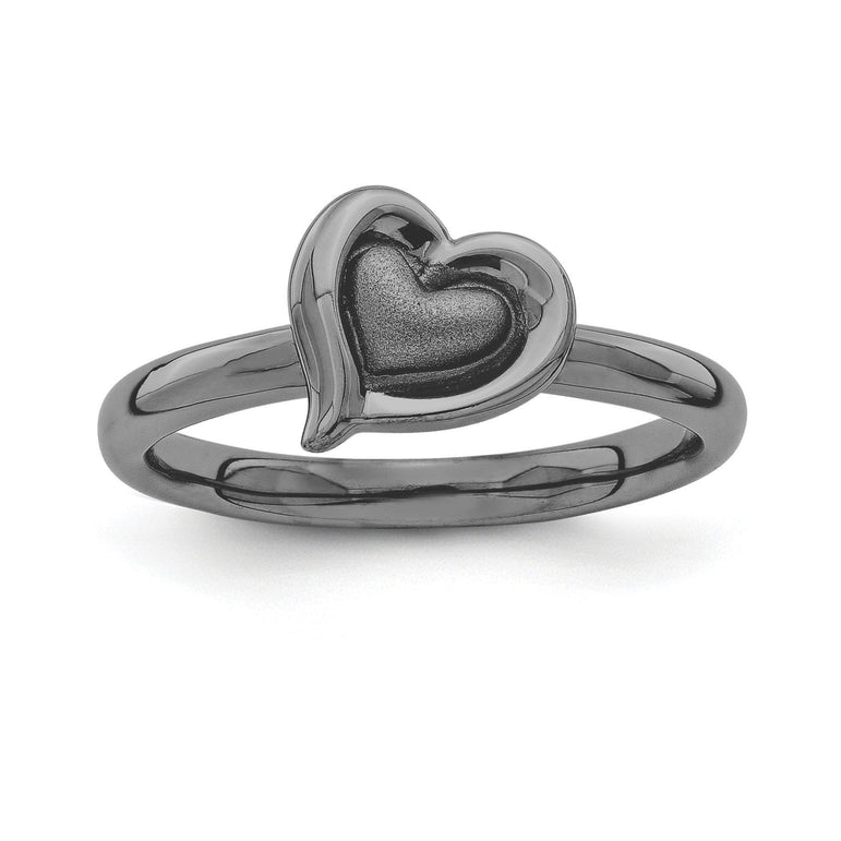 Sterling Silver Stackable Expressions Black-plated Heart Ring - shirin-diamonds