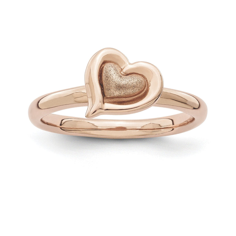 Sterling Silver Stackable Expressions Pink-plated Heart Ring - shirin-diamonds