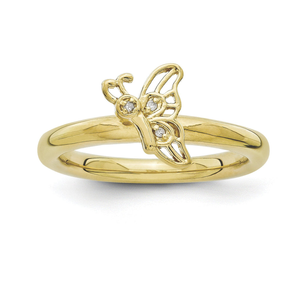 Sterling Silver Stackable Expressions Gold-plated Butterfly w/Diamond Ring - shirin-diamonds