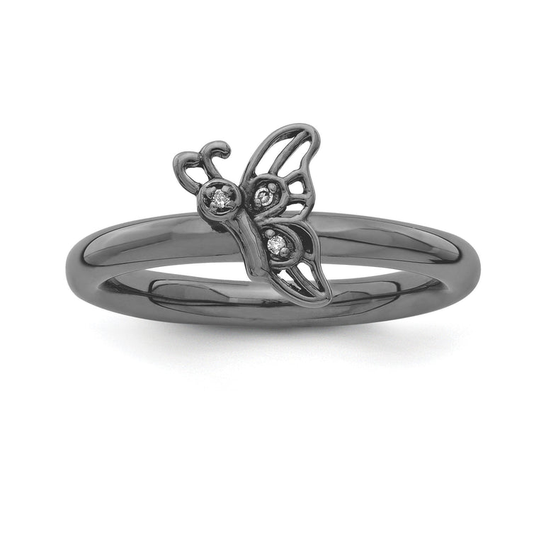 Sterling Silver Stackable Expressions Black-plated Butterfly w/Diamond Ring - shirin-diamonds
