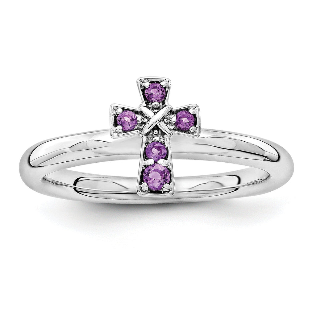 Sterling Silver Stackable Expressions Rhodium Amethyst Cross Ring - shirin-diamonds