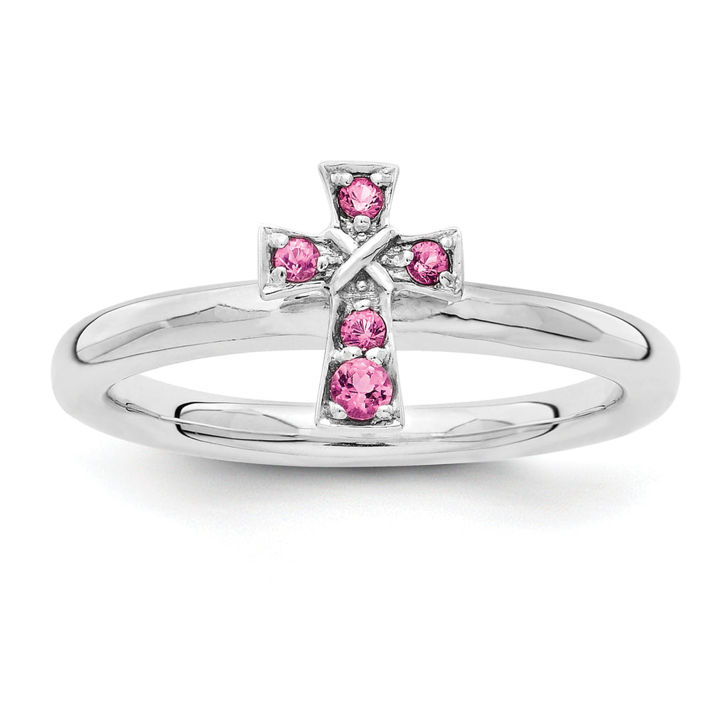 Sterling Silver Stackable Expressions Rhodium Pink Tourmaline Cross Ring - shirin-diamonds