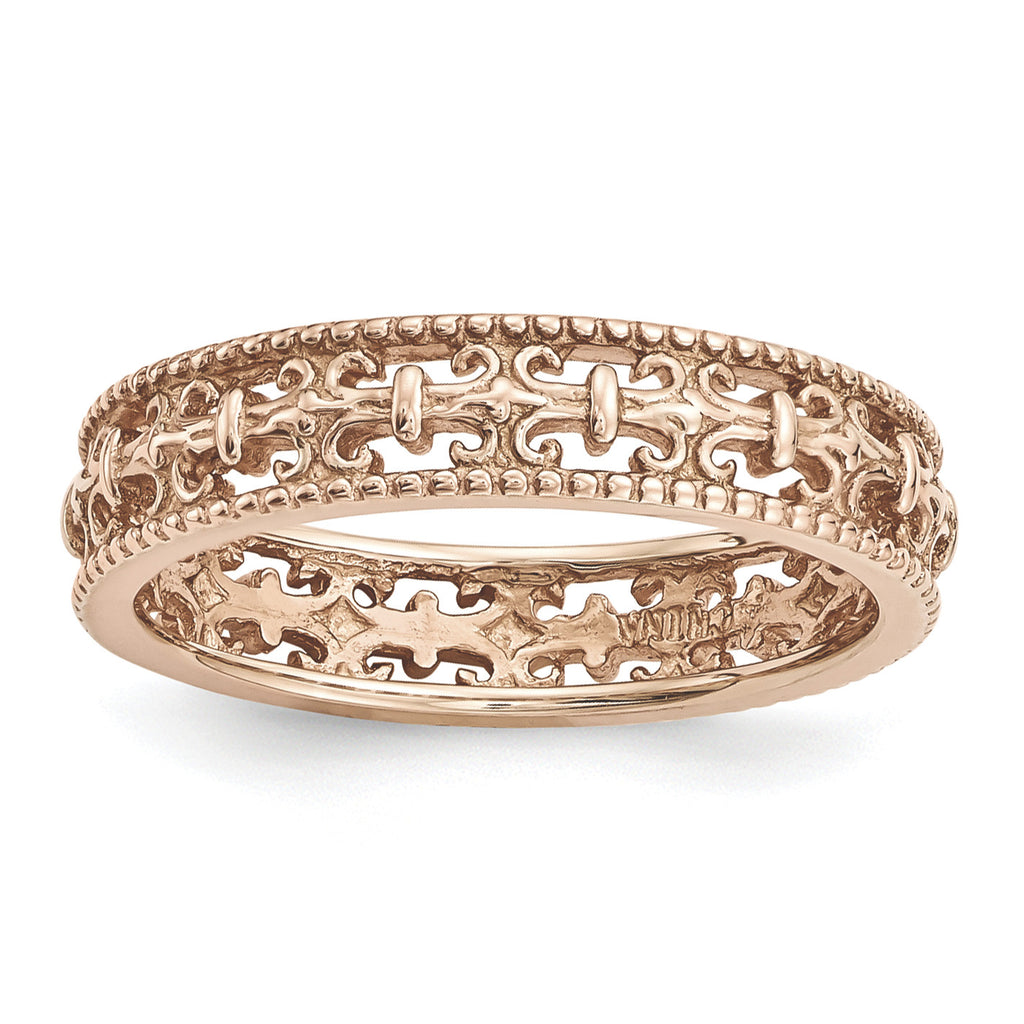 Sterling Silver Stackable Expressions Pink-plated Carved Band - shirin-diamonds