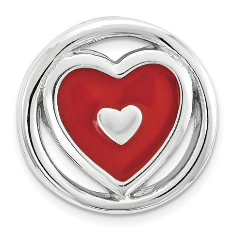 Sterling Silver Stackable Expressions Small Red Enameled Heart Chain Slide - shirin-diamonds
