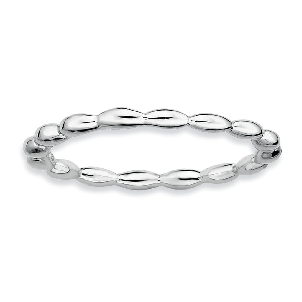 Sterling Silver Stackable Expressions Rhodium Rice Bead Ring - shirin-diamonds