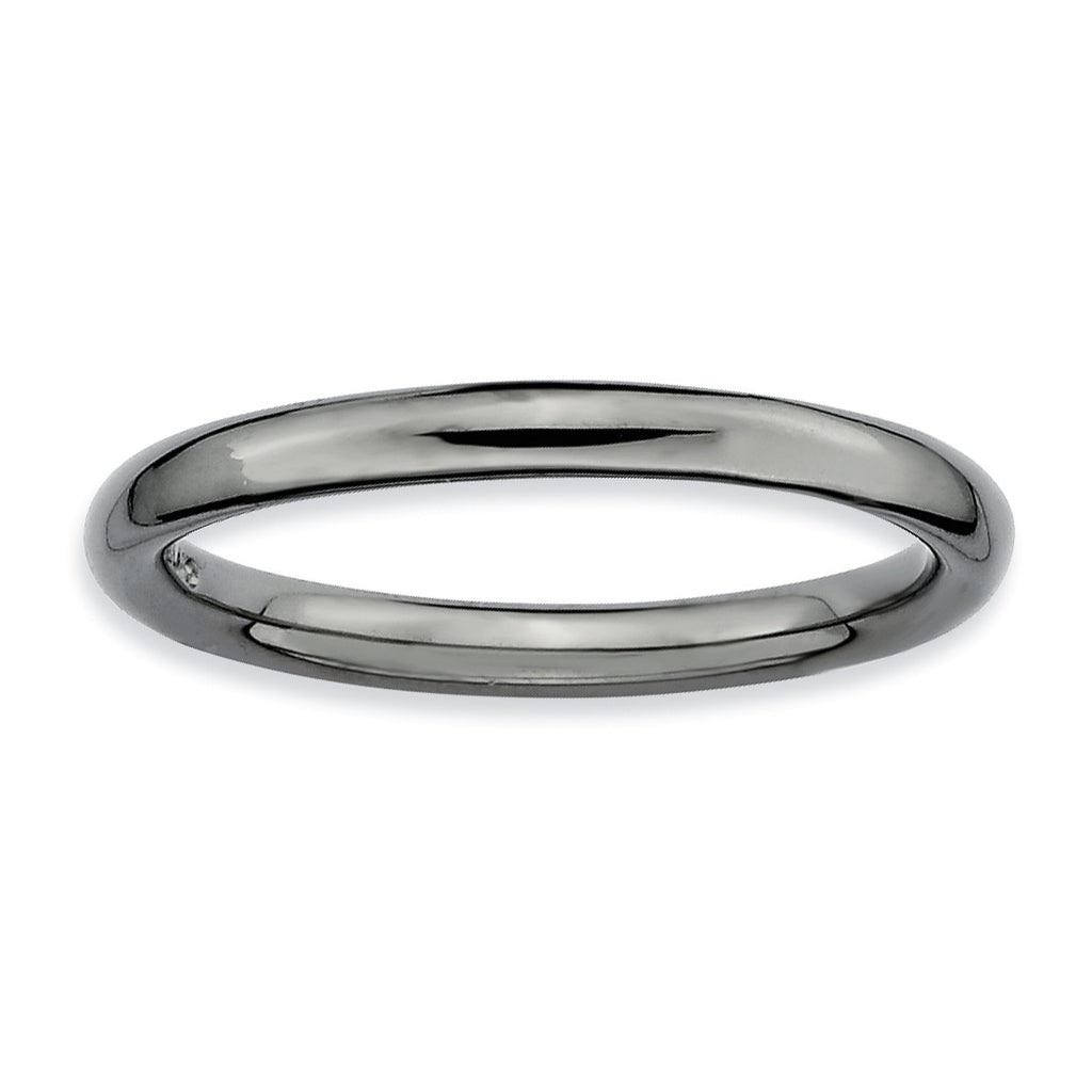Sterling Silver Stackable Expressions Black-plated Polished Ring - shirin-diamonds