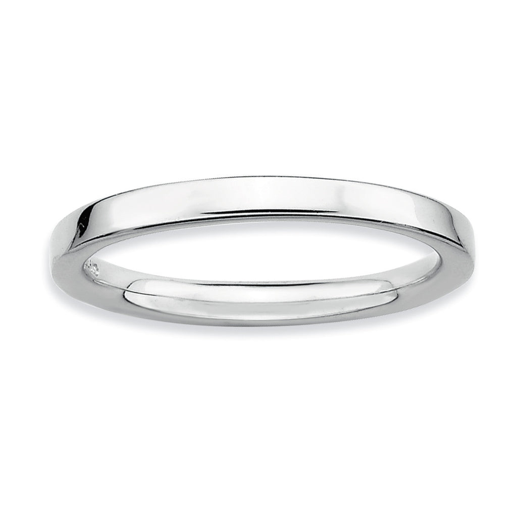 Sterling Silver Stackable Expressions Rhodium Polished Ring - shirin-diamonds