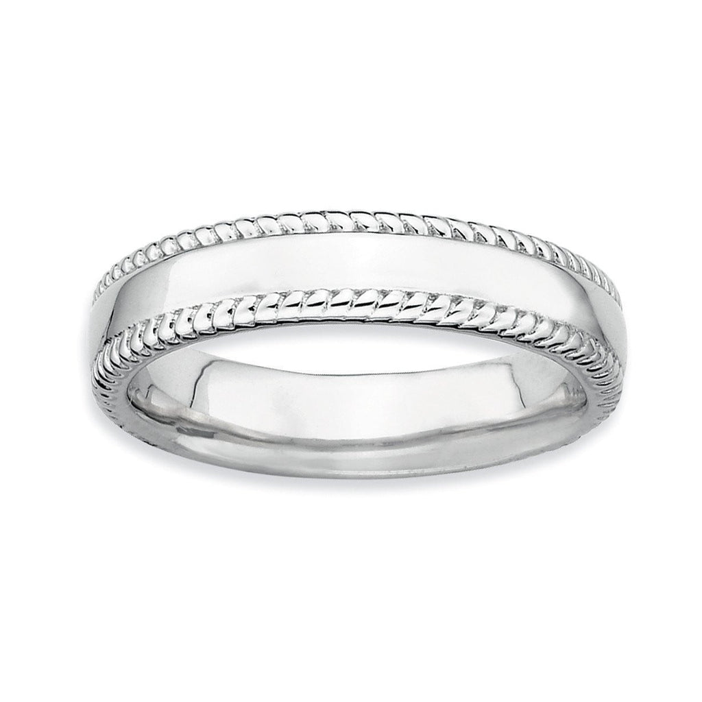 Sterling Silver Stackable Expressions Rhodium Ring - shirin-diamonds