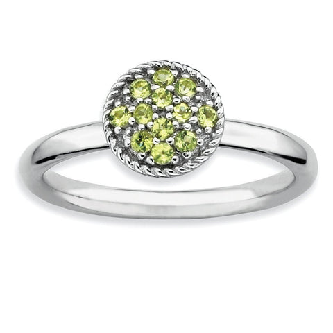 Sterling Silver Stackable Expressions Peridot Rhodium Ring - shirin-diamonds