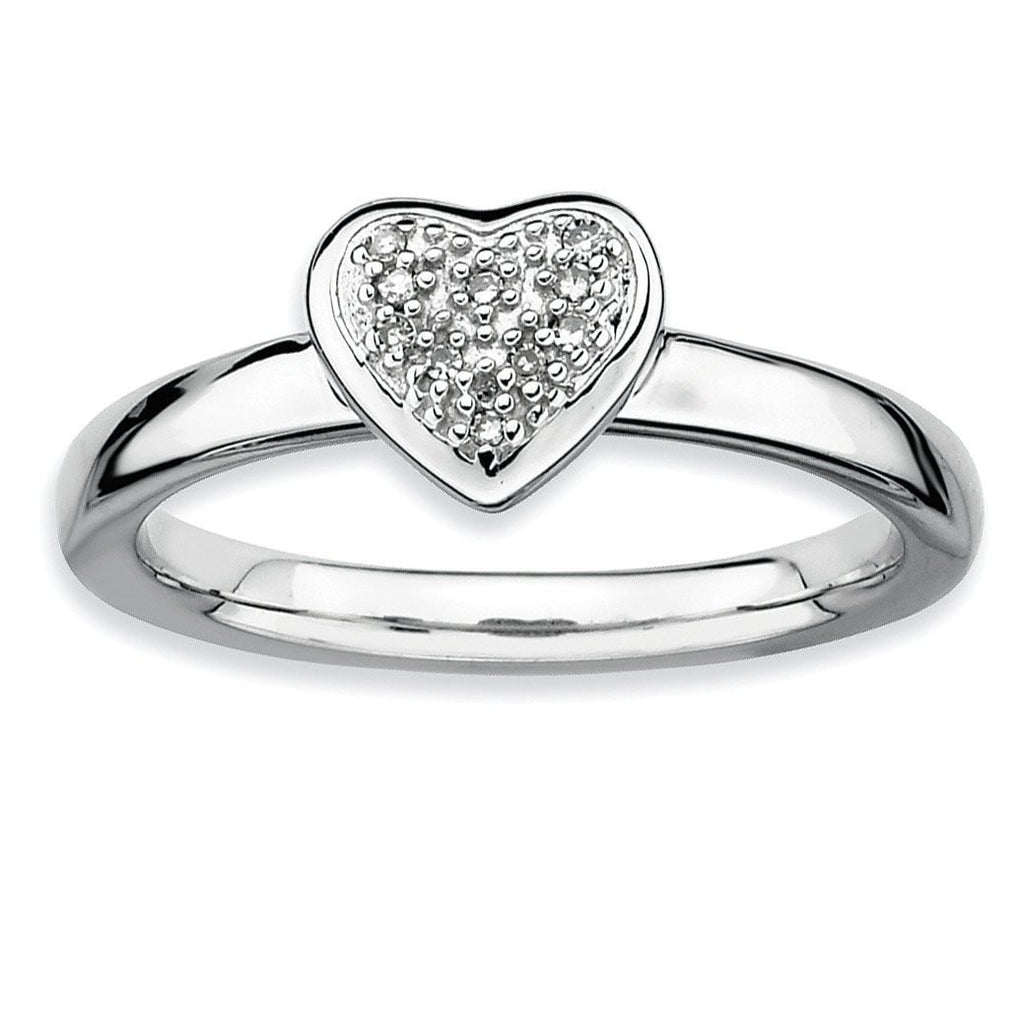 Sterling Silver Stackable Expressions Heart Diamond Ring - shirin-diamonds