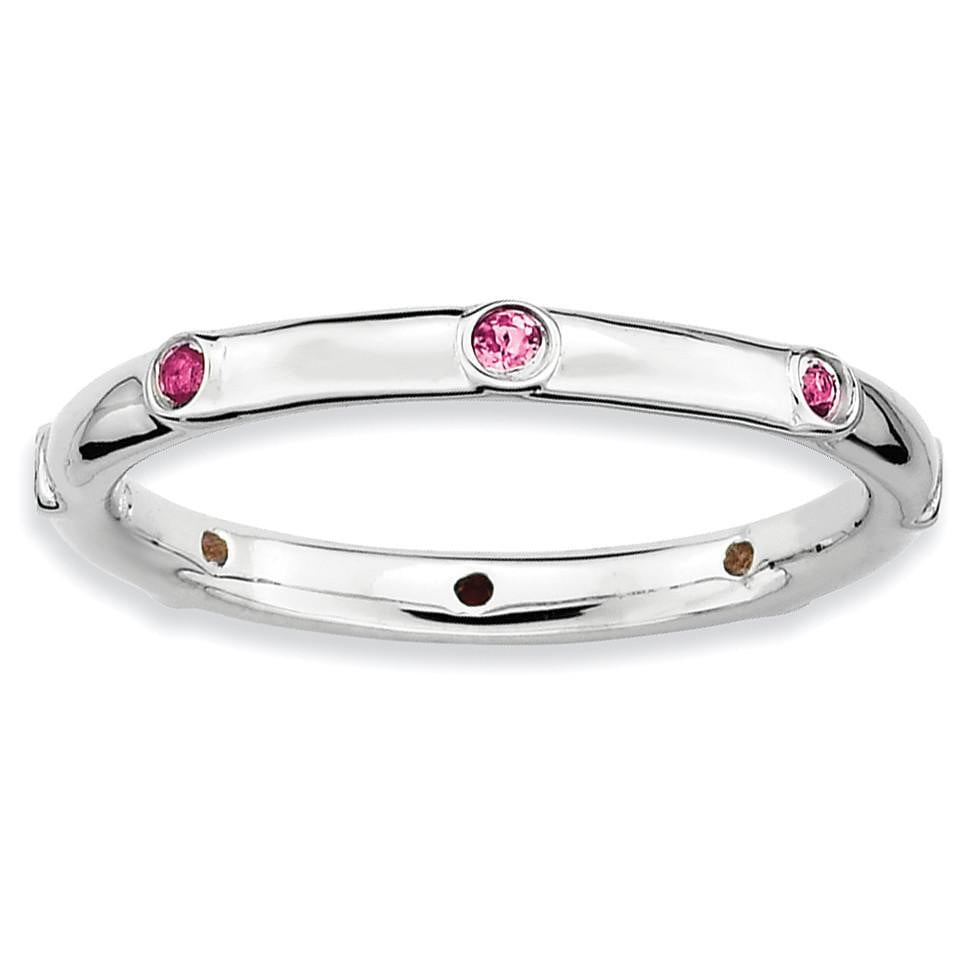 Sterling Silver Stackable Expressions Pink Tourmaline Ring - shirin-diamonds
