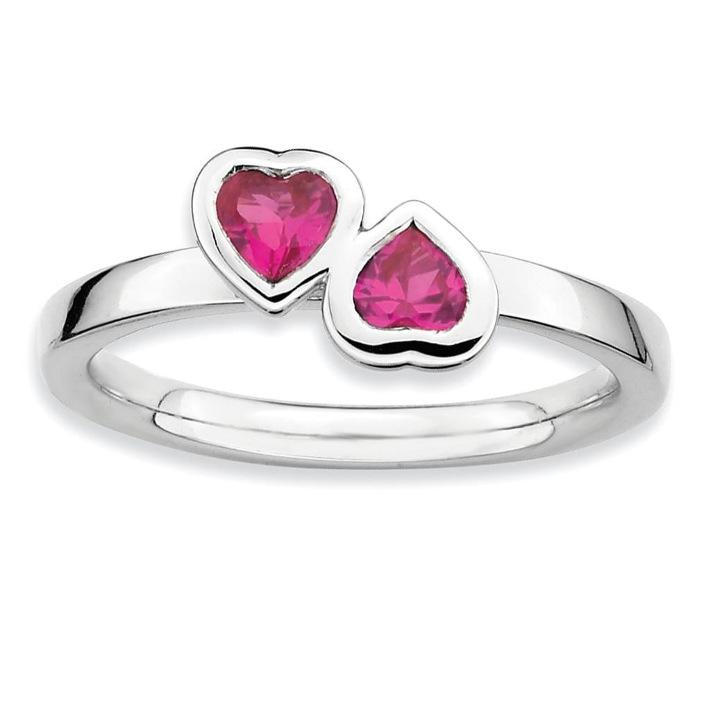 Sterling Silver Stackable Expressions Cr. Ruby Double Heart Ring - shirin-diamonds