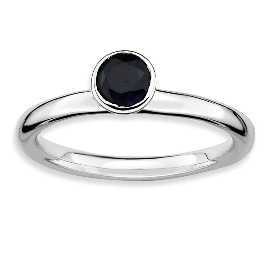 Sterling Silver Stackable Expressions High 5mm Round Cr. Sapphire Ring - shirin-diamonds