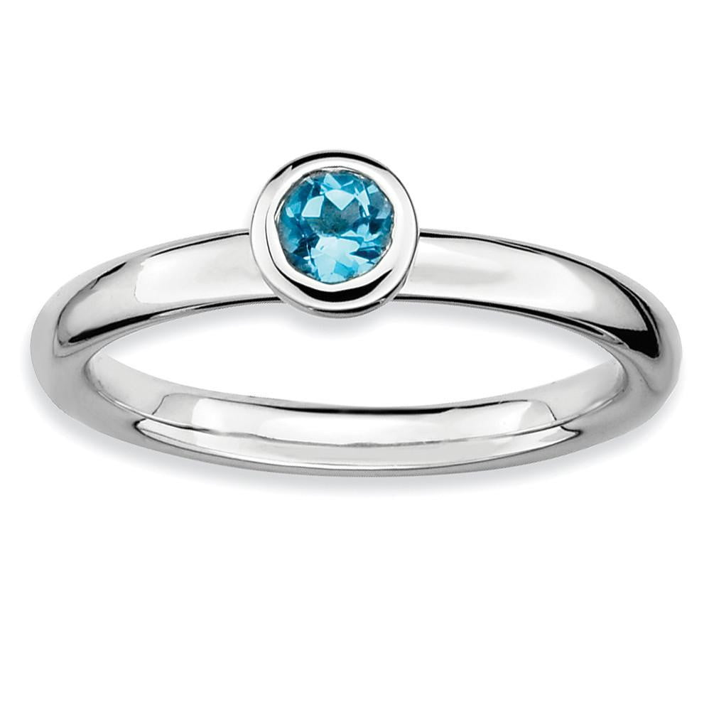 Sterling Silver Stackable Expressions Low 4mm Round Blue Topaz Ring - shirin-diamonds