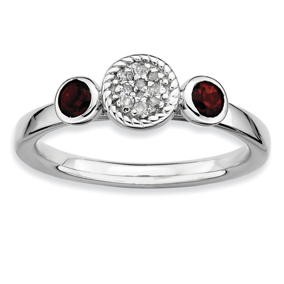 Sterling Silver Stackable Expressions Dbl Round Garnet & Dia. Ring - shirin-diamonds