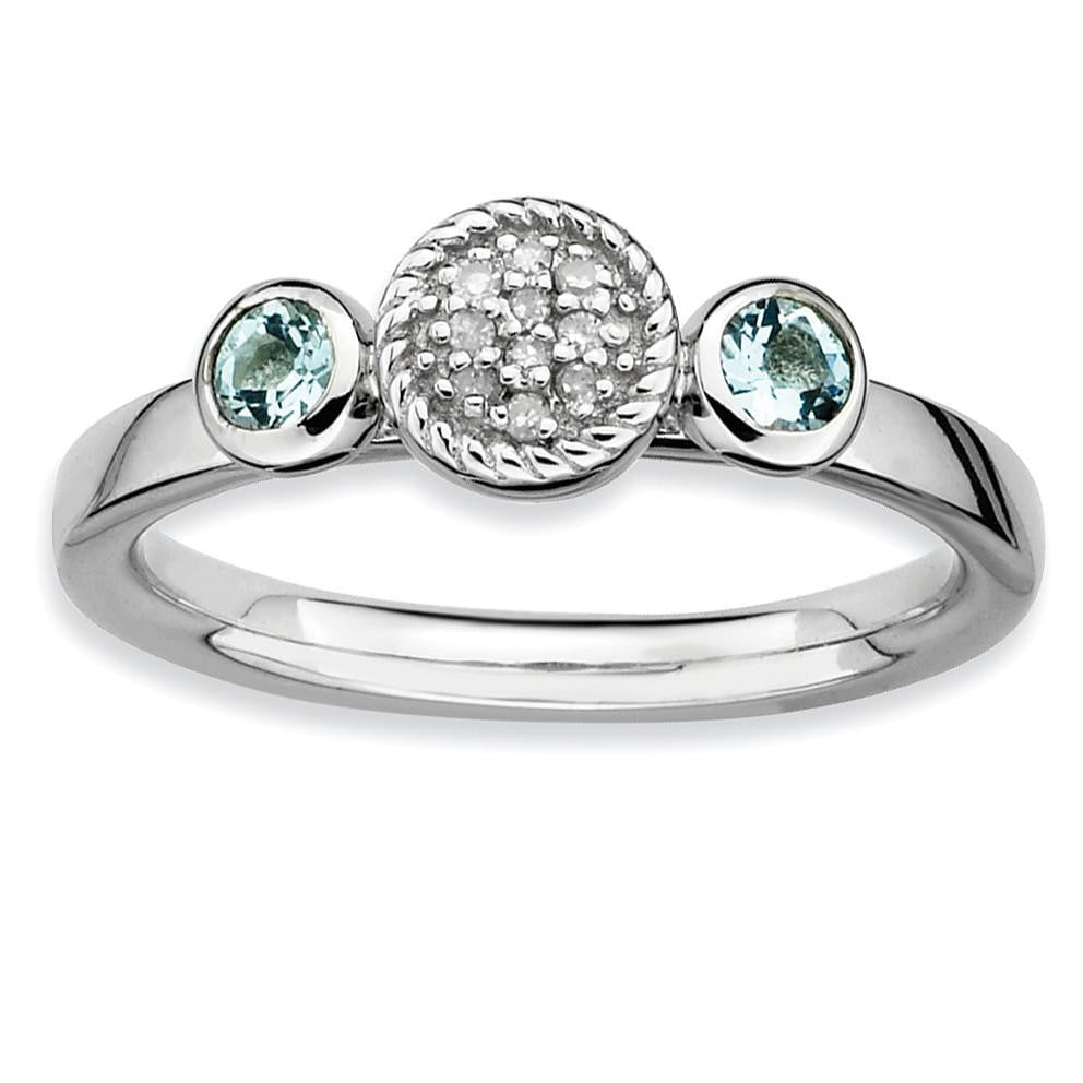 Sterling Silver Stackable Expressions Dbl Round Aquamarine & Dia. Ring