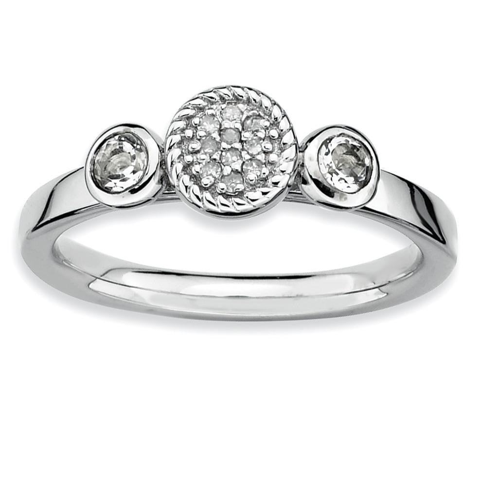 Sterling Silver Stackable Expressions Dbl Round White Topaz & Dia. Ring - shirin-diamonds