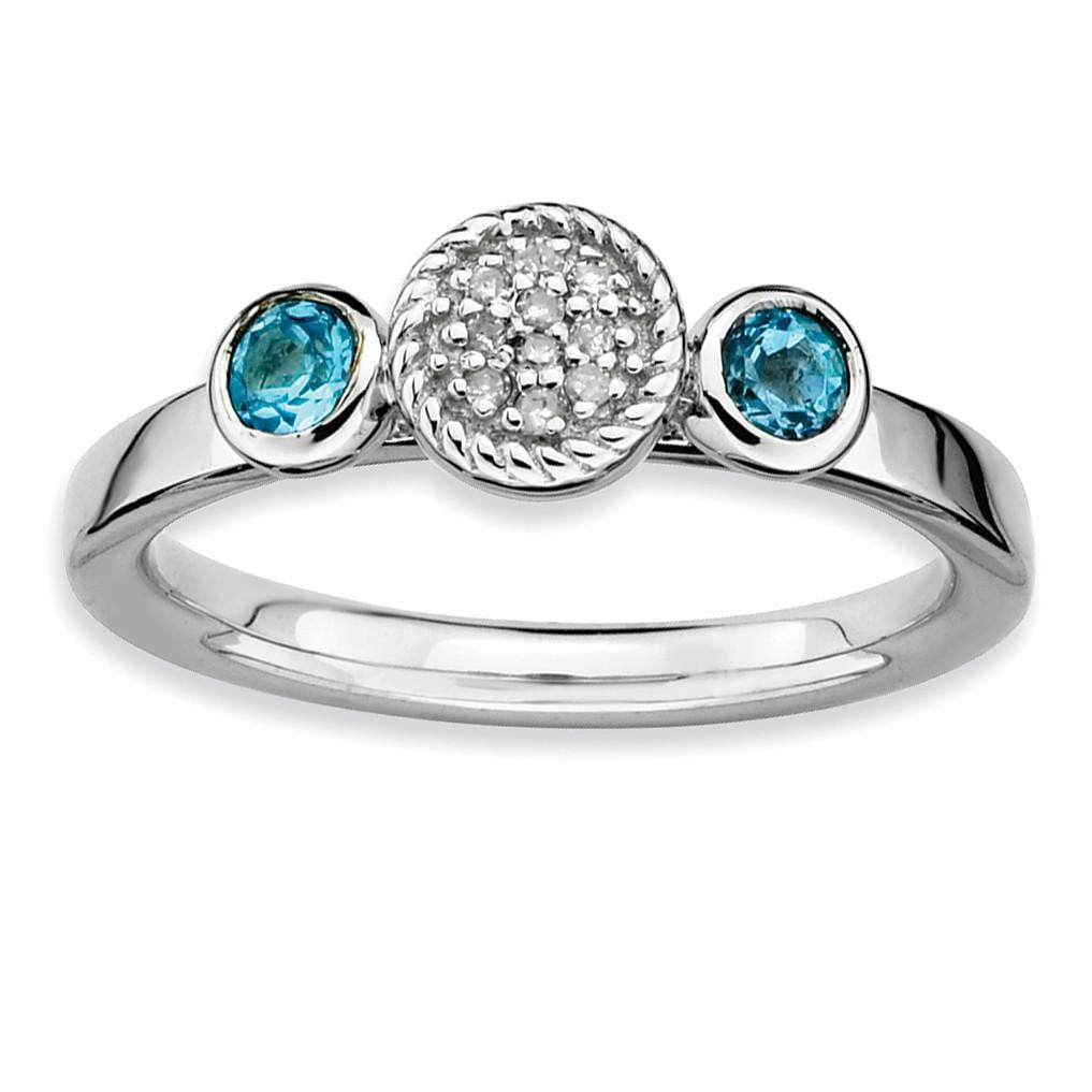 Sterling Silver Stackable Expressions Dbl Round Blue Topaz & Dia. Ring
