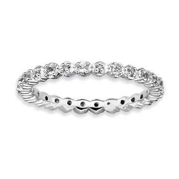 Sterling Silver Stackable Expressions White Topaz & Diamond Ring - shirin-diamonds
