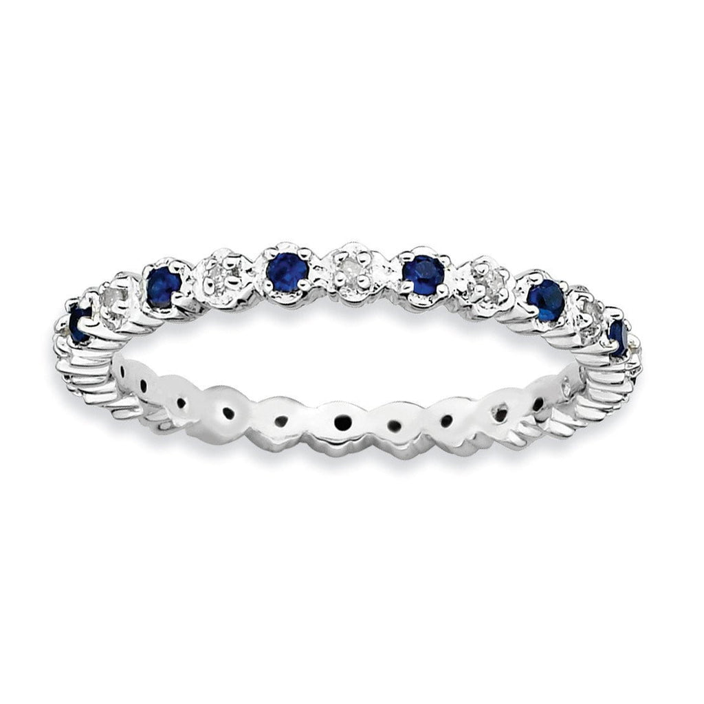 Sterling Silver Stackable Expressions Cr. Sapphire & Diamond Ring - shirin-diamonds
