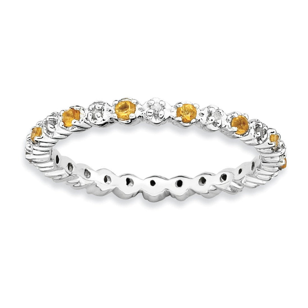 Sterling Silver Stackable Expressions Citrine & Diamond Ring