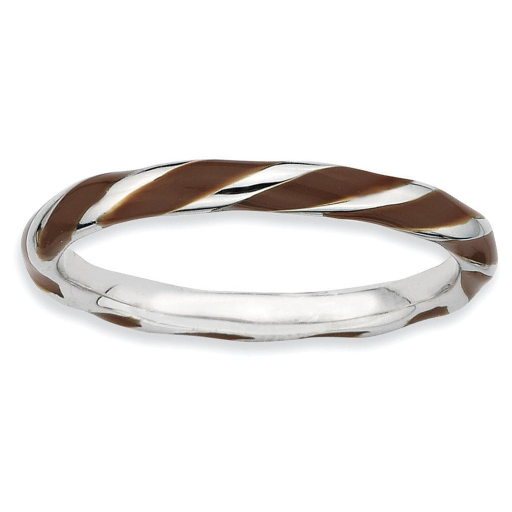 Sterling Silver Stackable Expressions Twisted Brown Enameled Ring - shirin-diamonds