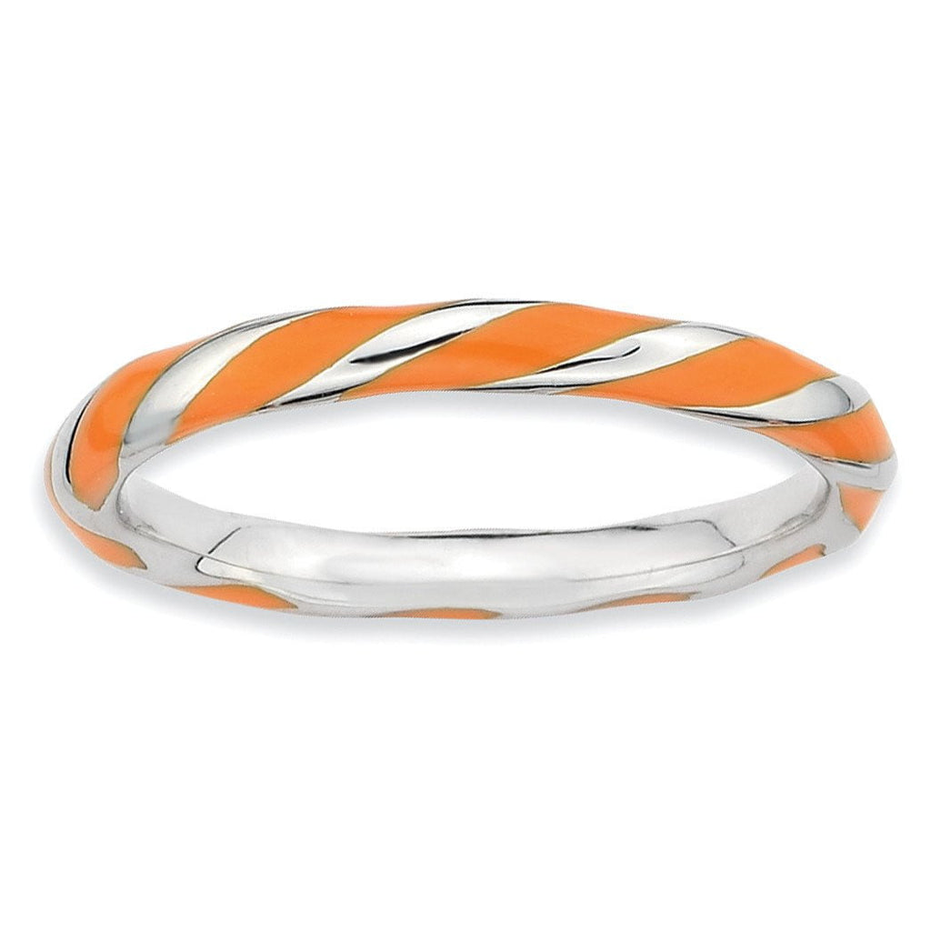 Sterling Silver Stackable Expressions Twisted Orange Enameled Ring - shirin-diamonds
