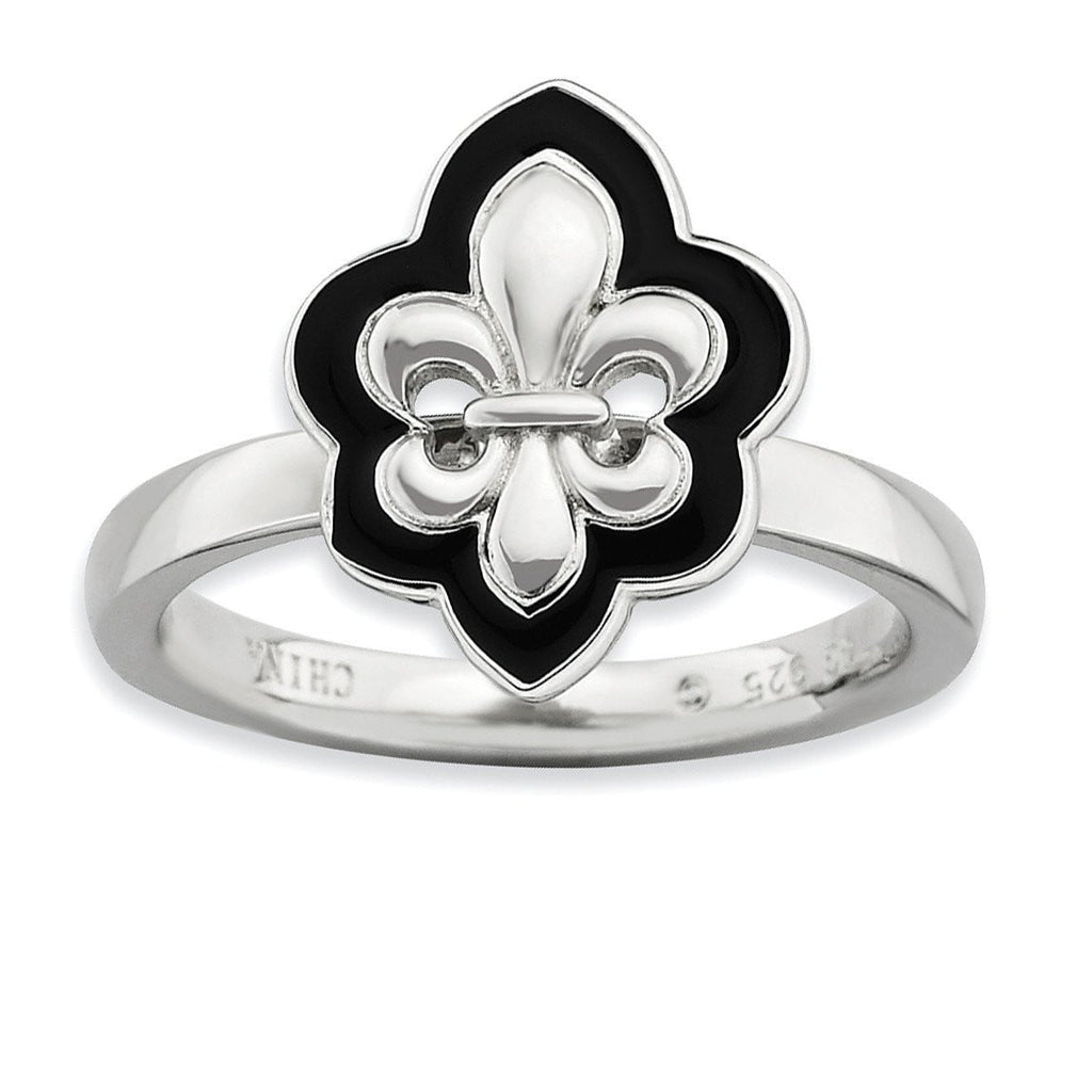 Sterling Silver Stackable Expressions Polished Enameled Fleur De Lis Ring - shirin-diamonds