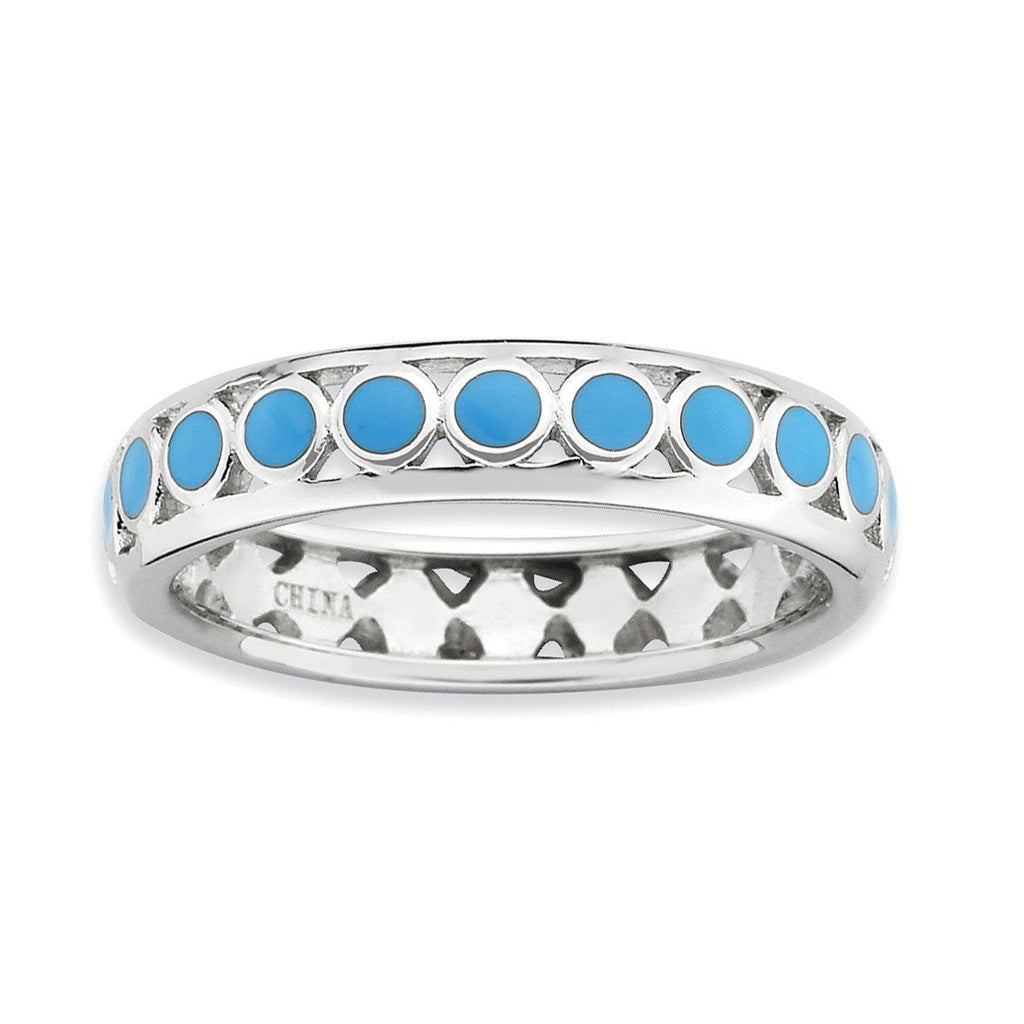 Sterling Silver Stackable Expressions Polished Blue Circles Enameled Ring - shirin-diamonds