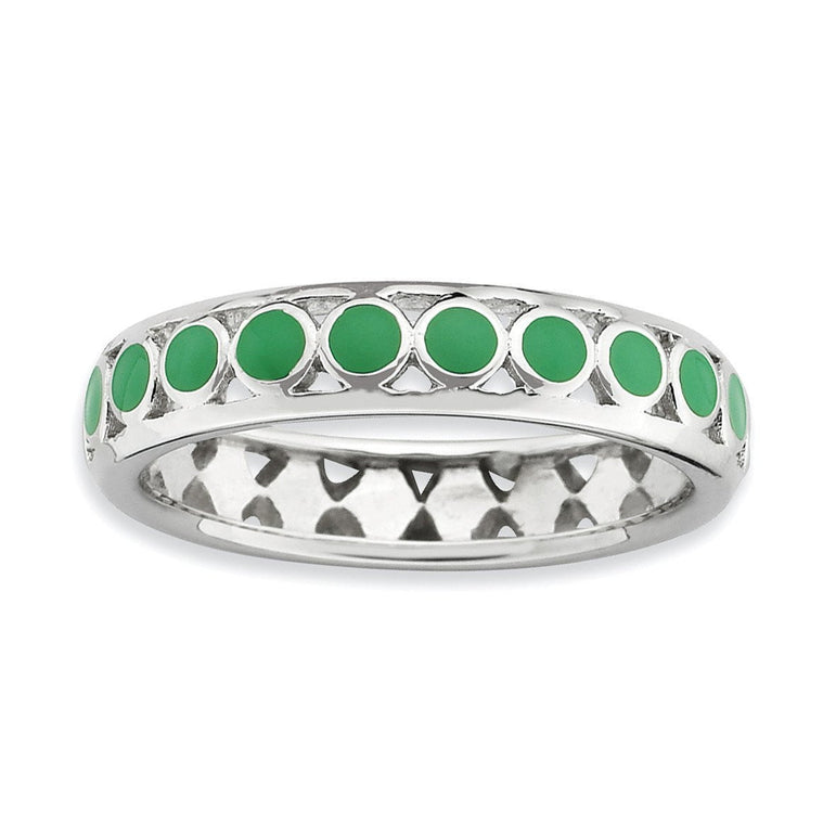 Sterling Silver Stackable Expressions Polished Green Circles Enameled Ring - shirin-diamonds