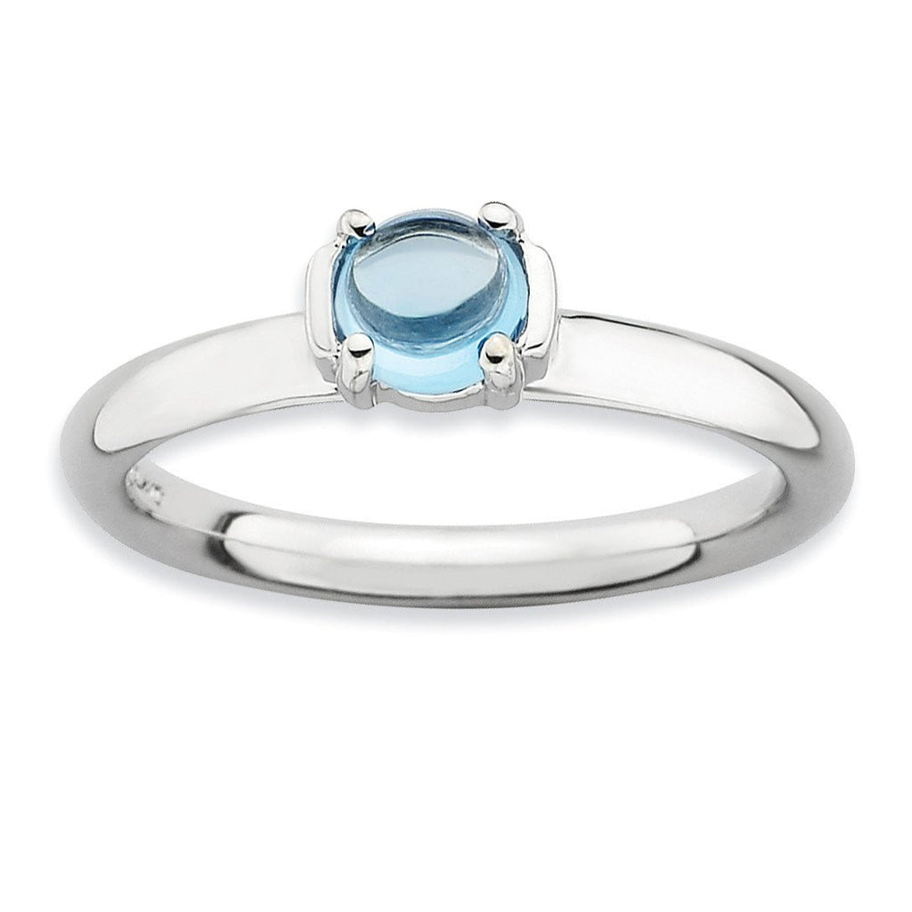 Sterling Silver Stackable Expressions Polished Blue Topaz Ring - shirin-diamonds