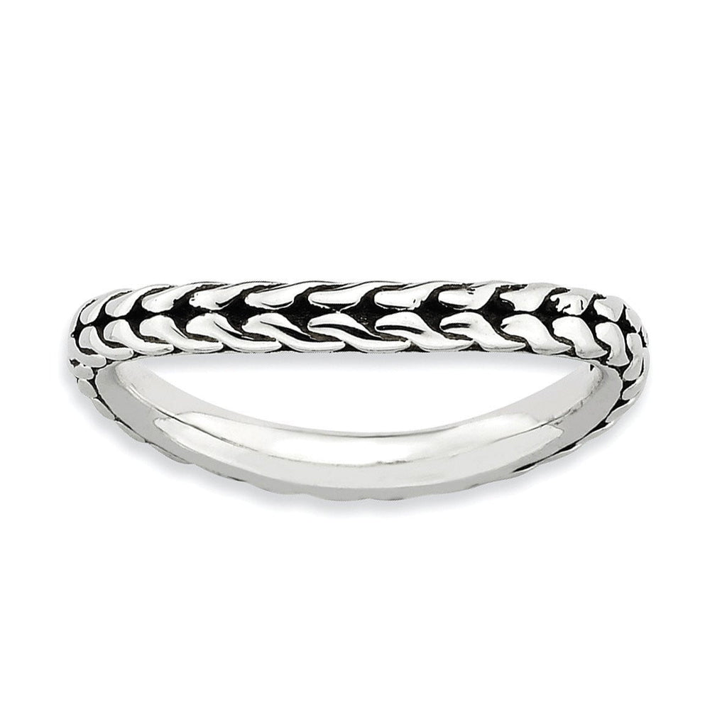 Sterling Silver Stackable Expressions Antiqued Wave Ring - shirin-diamonds