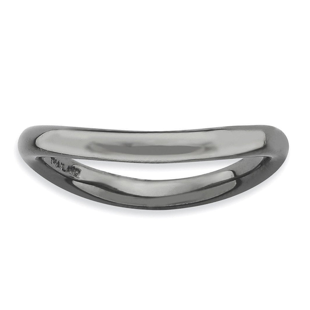 Sterling Silver Stackable Expressions Polished Black-plate Wave Ring - shirin-diamonds