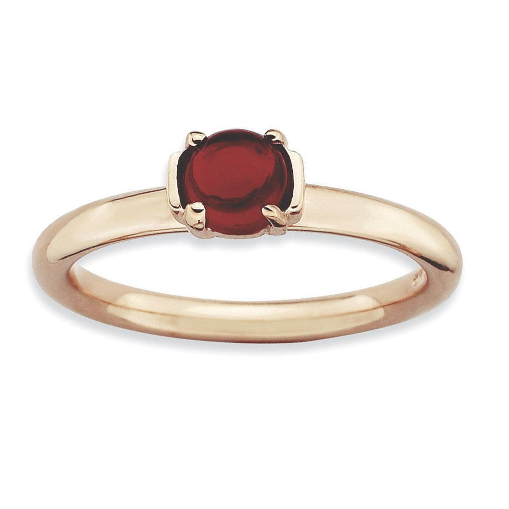 Sterling Silver Stackable Expressions Garnet Pink-plated Ring - shirin-diamonds