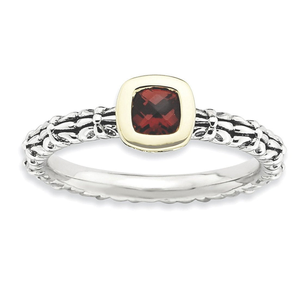 Sterling Silver&14k Stackable Expressions Checker-cut Garnet Antiqued Ring