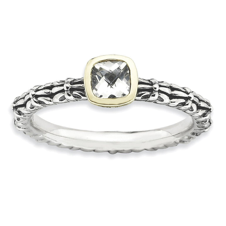 Sterling Silver & 14k Stackable Expressions Checker-cut White Topaz Ring - shirin-diamonds