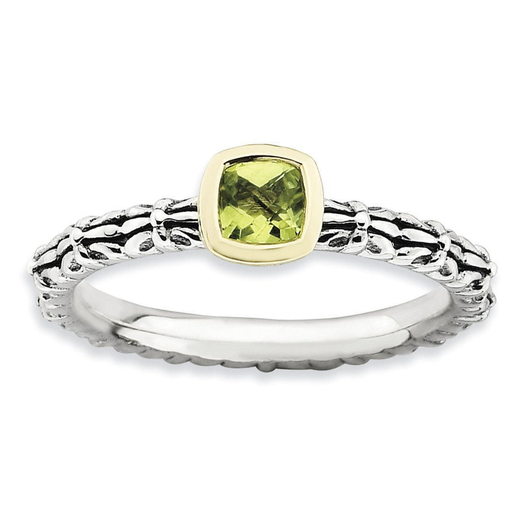 Sterling Silver & 14k Stackable Expressions Checker-cut Peridot Ring