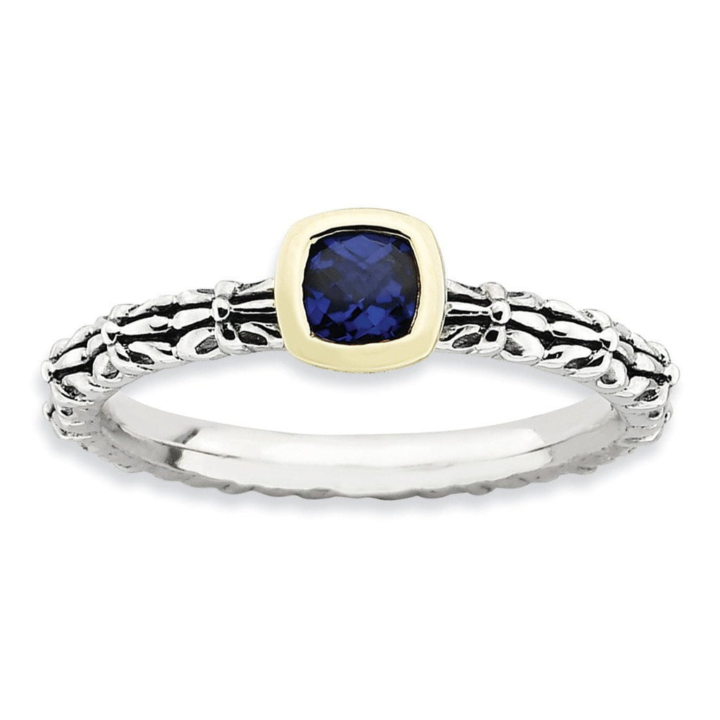 Sterling Silver & 14k Stackable Expressions Checker-cut Cr. Sapphire Ring