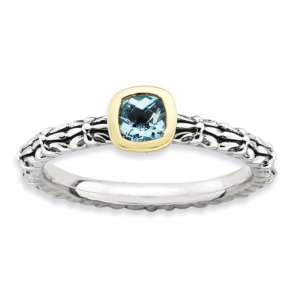 Sterling Silver & 14k Stackable Expressions Checker-cut Blue Topaz Ring