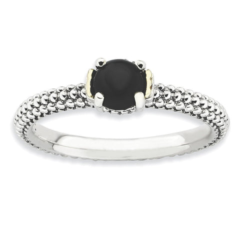 Sterling Silver & 14k Stackable Expressions Onyx Antiqued Ring - shirin-diamonds