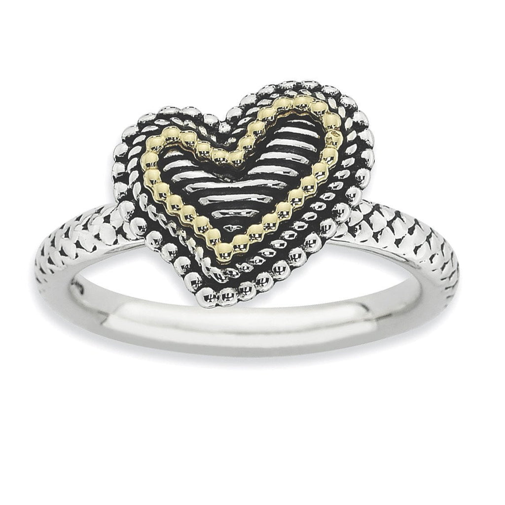 Sterling Silver & 14k Stackable Expressions Antiqued Heart Ring