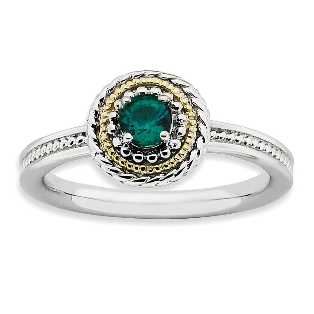 Sterling Silver & 14k Stackable Expressions Created Emerald Ring