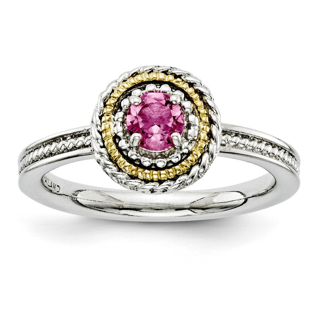 Sterling Silver & 14k Stackable Expressions Pink Tourmaline Ring - shirin-diamonds